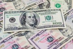 Dólares americanos misturados, muito fundo do dinheiro Finança, negócio fotos de stock royalty free