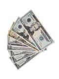 Dólares americanos ventilados para fora Fotos de Stock Royalty Free