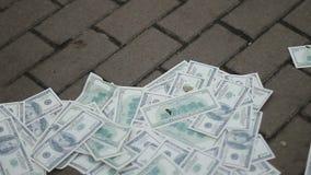 Dólares arrebatadores do líquido de limpeza de rua e coleta deles, desvalorização do dinheiro, crise filme