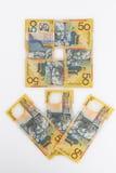 50 dólares australianos de billetes de banco arreglaron en la forma de flor Imagen de archivo
