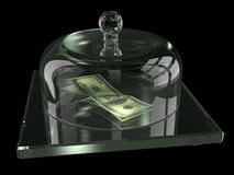 Dólares bajo cubierta de cristal Fotos de archivo