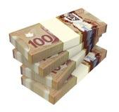 Dólares canadienses de dinero aislado en el fondo blanco Fotos de archivo