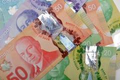 Dólares canadienses de la moneda de fondo de los billetes de banco Foto de archivo libre de regalías