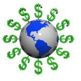 Dólares cerca de la tierra stock de ilustración