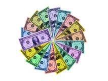 Dólares coloridos de círculo Fotos de archivo libres de regalías