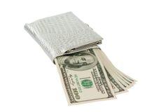 Dólares com uma bolsa isolada imagens de stock royalty free