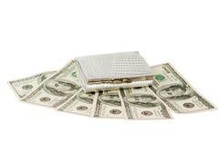 Dólares com uma bolsa isolada foto de stock royalty free