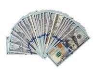 Dólares como en abanico Fotografía de archivo libre de regalías