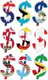 Dólares con las diversas banderas - sistema Fotografía de archivo libre de regalías