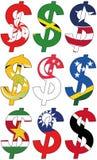 Dólares con las diversas banderas - sistema Foto de archivo libre de regalías