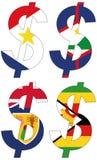 Dólares con las diversas banderas - sistema Imágenes de archivo libres de regalías