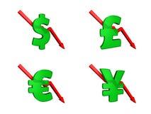 Dólares da crise financeira para baixo Foto de Stock