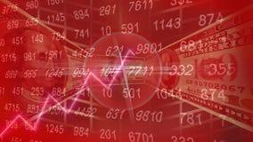 Dólares de animación que da vuelta en surrond del círculo de un círculo rojo ilustración del vector