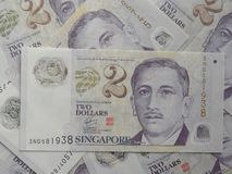 2 dólares de billete de banco Singapur