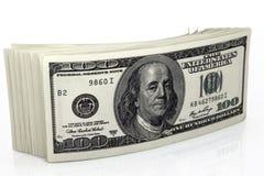 Dólares de concepto del primer Dólares americanos de dinero del efectivo Cientos billetes de banco del dólar Fotografía de archivo