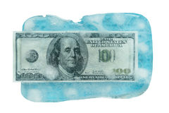 100 dólares de derretimento congelado Imagens de Stock
