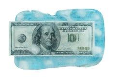 100 dólares de derretimiento congelado Imagenes de archivo