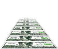 Dólares de desaparecimento em um fundo branco Imagens de Stock