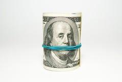 Dólares de EE. UU. de los billetes de banco relacionados con la pila Imagen de archivo