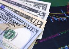 Dólares de EE. UU. en diagrama financiero imagenes de archivo