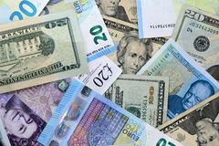 Dólares de EE. UU. de la libra de euro BRITÁNICO de la UE Fotografía de archivo