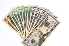 Dólares de Estados Unidos arranjados na forma do fã fotografia de stock