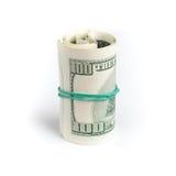 Dólares de Estados Unidos, rollo de cientos billetes de banco de USD Fotografía de archivo libre de regalías