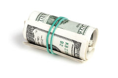 Dólares de Estados Unidos, rollo de cientos billetes de banco de USD Imagen de archivo