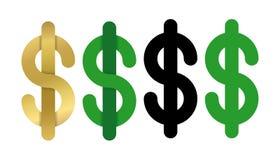 Dólares de icono de la muestra Símbolo de moneda de USD Sistema de etiqueta aislado del dinero del vector Foto de archivo libre de regalías