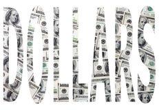 Dólares de la palabra imagen de archivo libre de regalías