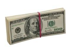 Dólares de los diez milésimos en paquete Fotografía de archivo libre de regalías