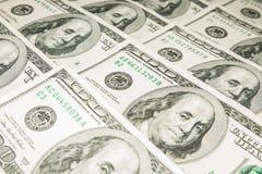 Dólares de los E.E.U.U. del americano 100 Imagen de archivo libre de regalías