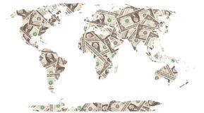 Dólares de mapa de mundo Foto de Stock