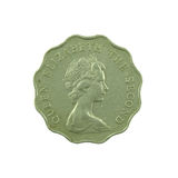 2 dólares de moneda de Hong Kong aislada en el fondo blanco Fotos de archivo