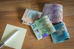 Dólares de Nueva Zelanda/el concepto del presupuesto dom'estico fotos de archivo