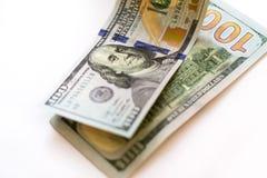 100 dólares de nuevos billetes de banco Imágenes de archivo libres de regalías