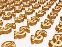 Dólares de oro Imagen de archivo libre de regalías