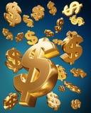 Dólares de oro caer Foto de archivo libre de regalías