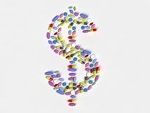 Dólares de píldoras Fotografía de archivo libre de regalías