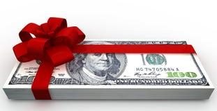 Dólares de paquete del regalo Foto de archivo libre de regalías