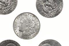 Dólares de prata de Morgan Foto de Stock Royalty Free