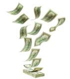 Dólares de queda a empilhar fotografia de stock