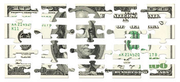 100 dólares de rompecabezas Fotografía de archivo libre de regalías
