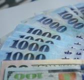 Dólares de Taiwan de conta Fotografia de Stock