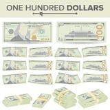 100 dólares de vector del billete de banco Moneda de los E.E.U.U. de la historieta Dos lados de cientos dineros Bill Isolated Ill Imagen de archivo libre de regalías