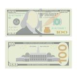 100 dólares de vector del billete de banco Urrency de los E.E.U.U. de la historieta Dos lados de cientos dineros Bill Isolated Il Imagen de archivo libre de regalías
