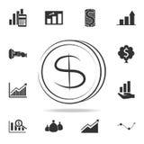 Dólares del dinero de la moneda de icono del logotipo Sistema detallado de iconos del elemento de las finanzas, de las actividade ilustración del vector