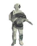 Dólares del dinero en circulación del soldado del dinero fotografía de archivo
