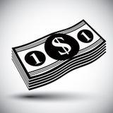 Dólares del efectivo del dinero de la pila del vector de solo icono simple del color Fotografía de archivo libre de regalías