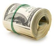 Dólares del rollo del dinero aislados en el fondo blanco Fotografía de archivo